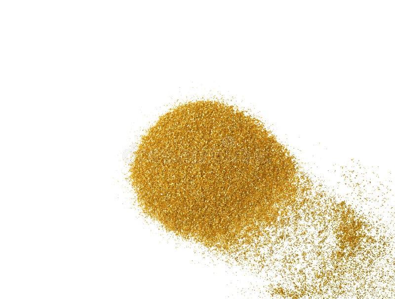 Haufen des Goldfunkelns auf weißem Hintergrund lizenzfreies stockfoto