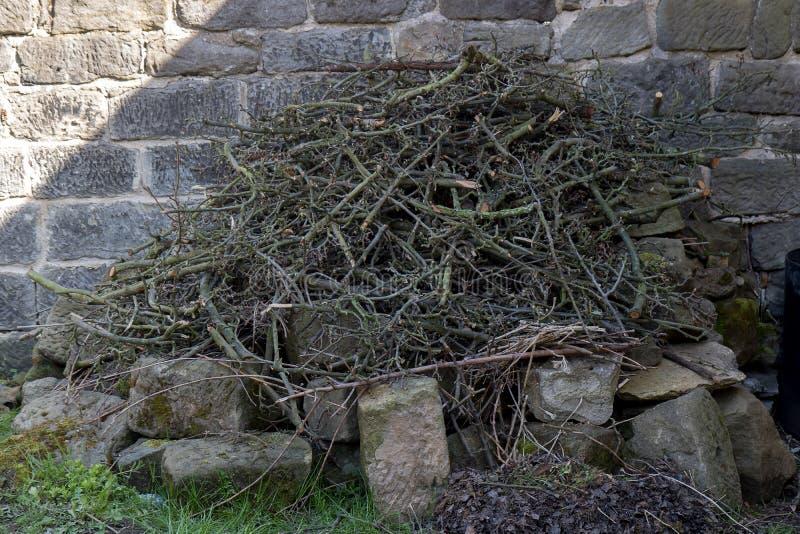 Haufen des hölzernen Abfalls auf einem Garten lizenzfreie stockbilder