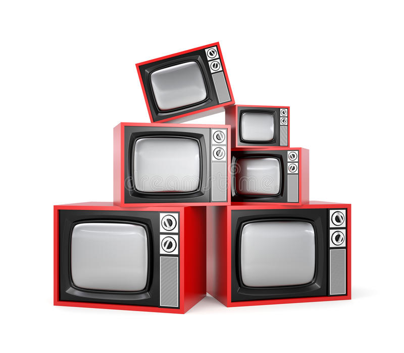 Haufen Retro- Fernsehapparates vektor abbildung