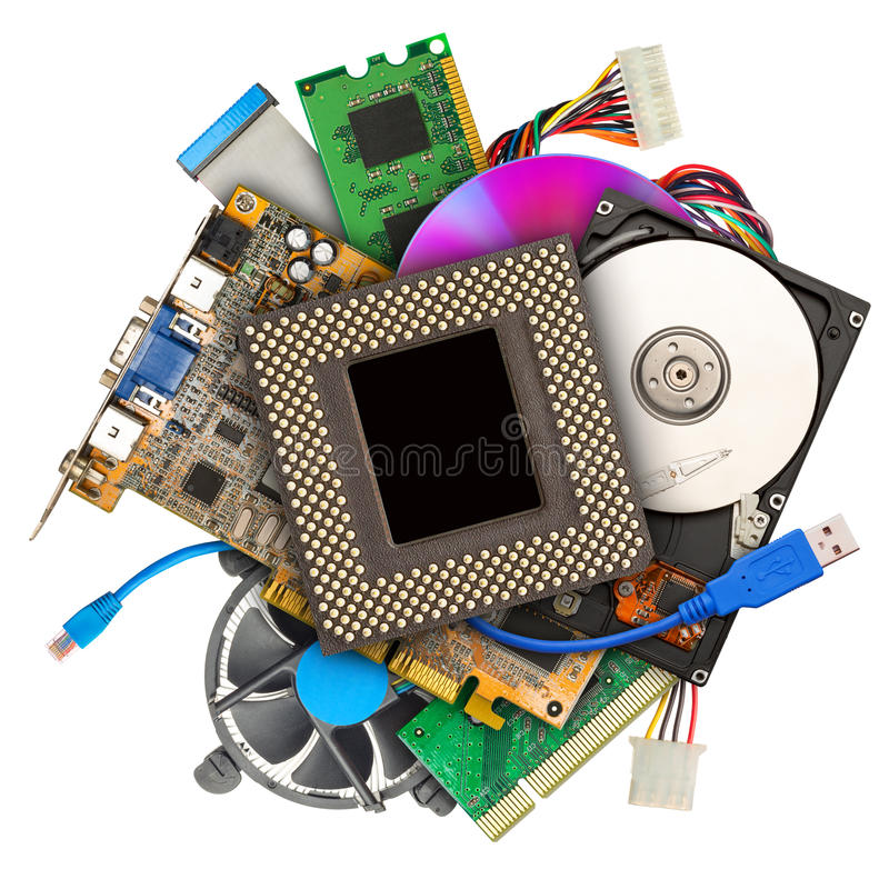 Haufen von Computerhardware stockfotos