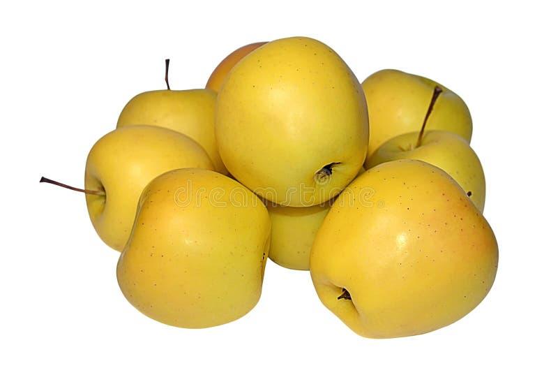 Haufen von den Äpfeln golden delicious auf Weiß lizenzfreie stockfotografie