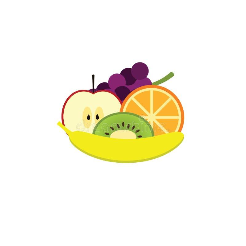 Haufen von den Früchten lokalisiert auf weißem Hintergrund Ikonen der Frucht Frische Früchte auf einem weißen Hintergrund lizenzfreie abbildung