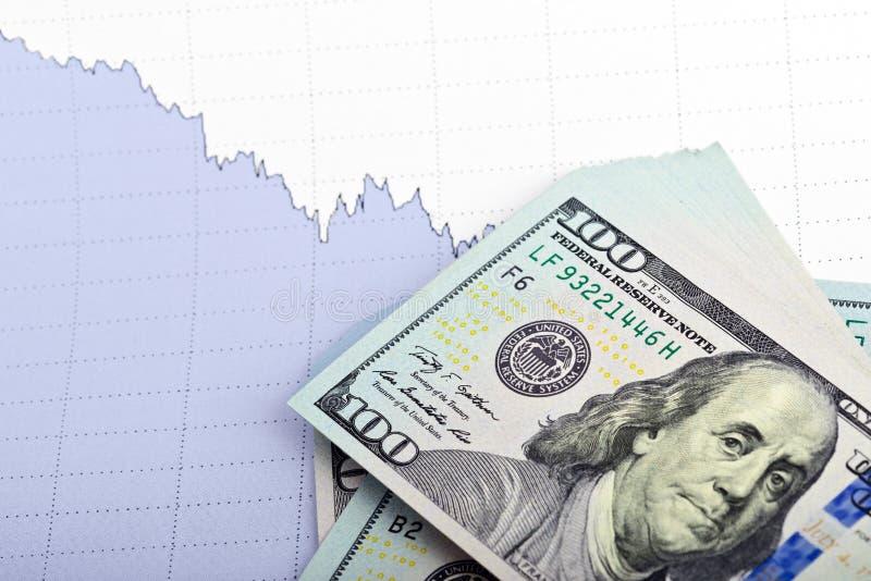 Haufen von Dollarscheinen mit Geschäftsdiagramm lizenzfreie stockfotografie
