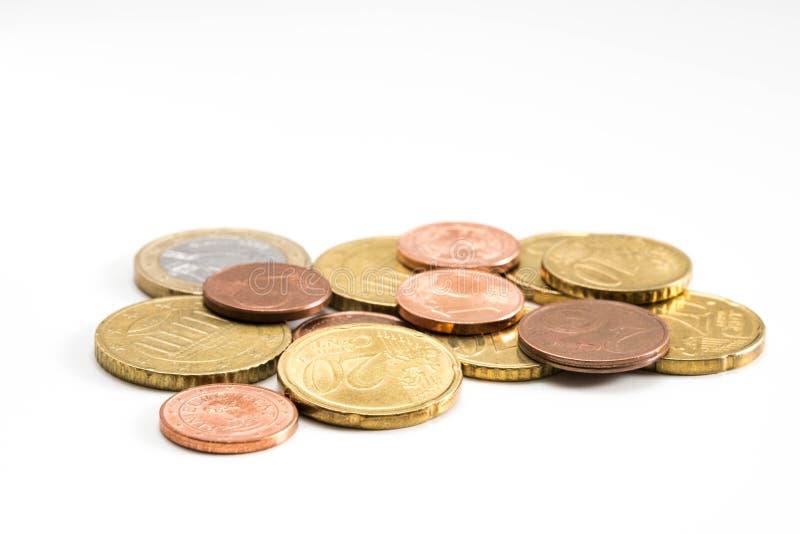 Haufen von Euromünzen stockbilder