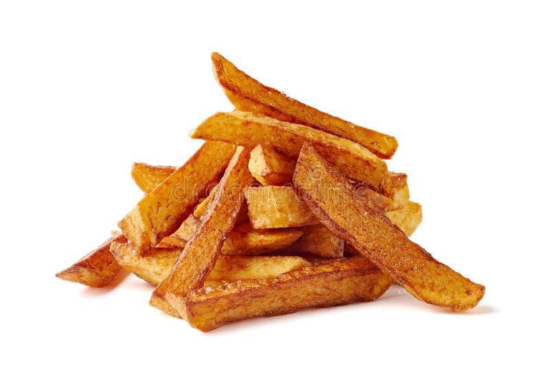 Haufen von Pommes-Frites auf wei?em Hintergrund stockfoto