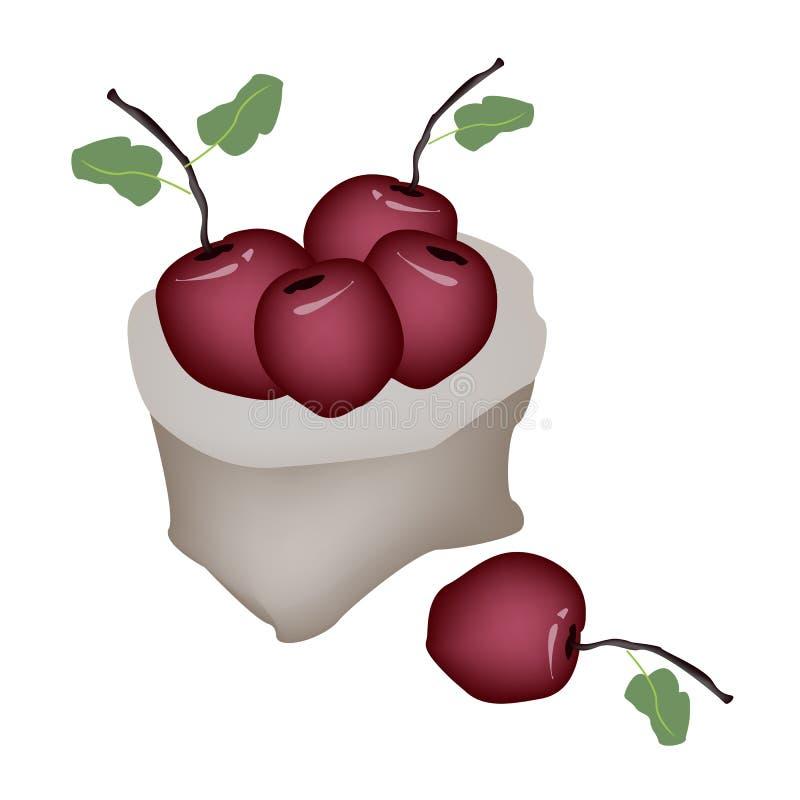Haufen von rotem Apple in einem Sack stock abbildung