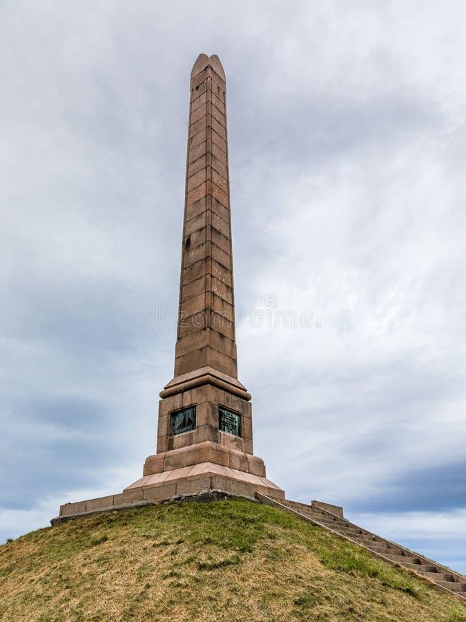 HAUGESUND, NOORWEGEN OP Januari 2018 Haraldshaugen, het oude norse graf van Harald Fairhair ` s Het Nationale Monument binnen royalty-vrije stock fotografie