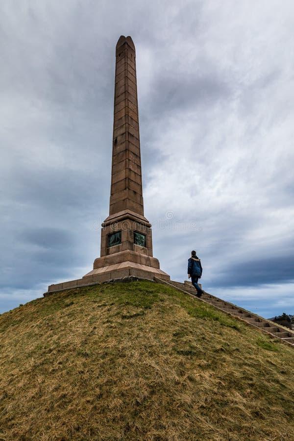 HAUGESUND, NORWEGIA NA Styczniu 2018 Haraldshaugen stary norse Harald Fairhair ` s grób Krajowy zabytek wewnątrz obrazy stock
