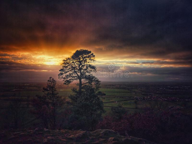 Haughmond hill at sunset stock image