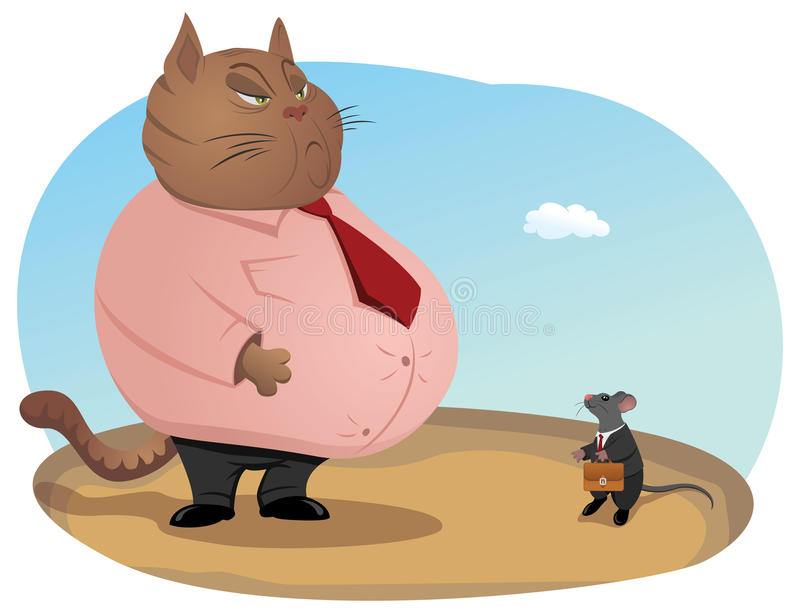Haughty cat boss stock illustration