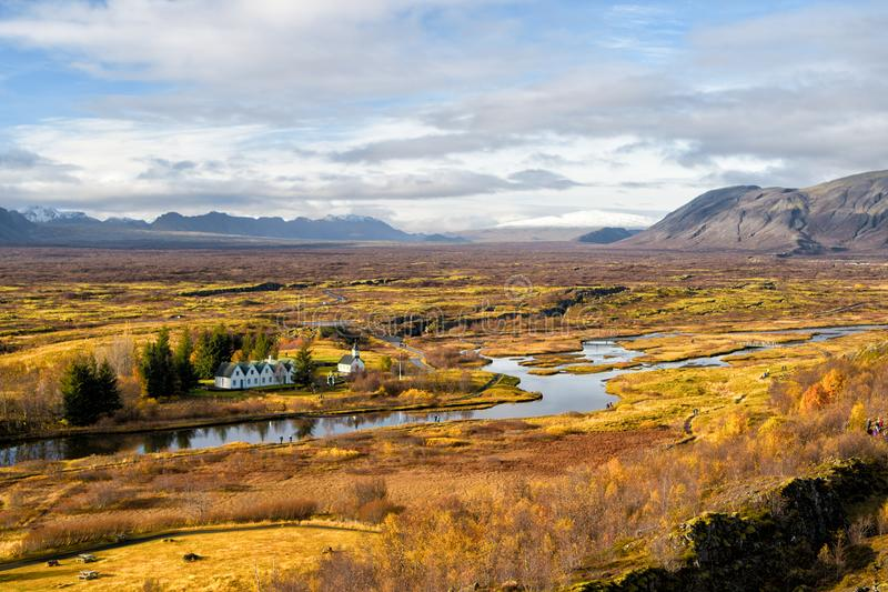Haukadalur valley in Iceland. Beautiful landscape with river in valley. Little buildings in peaceful nature environment. Valley landscape sunny autumn day stock photos