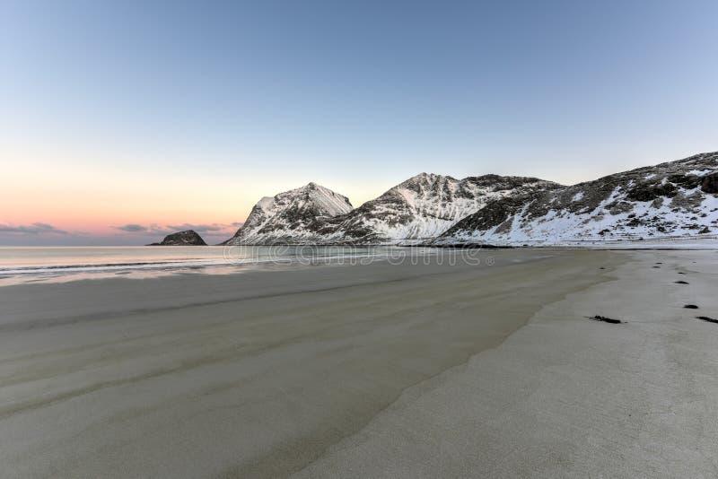 Haukland Beach, Lofoten Islands, Norway royalty free stock images