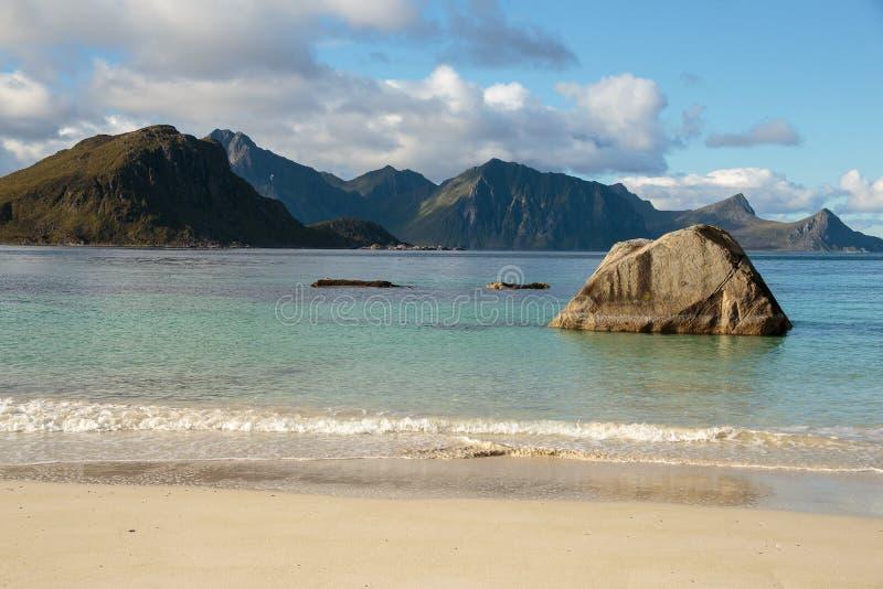 Haukland strand, Lofoten arkivfoto