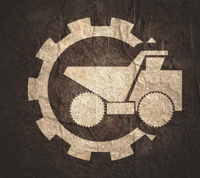 Haul or dump truck icon. Haul or dump truck. Dumper or tipper symbol in gear. Mining and construction machinery for transporting sand, gravel or dirt vector illustration