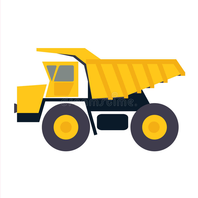 Haul or dump truck vector icon. Dumper or tipper symbol. Mining. And construction machinery for transporting sand, gravel or dirt. Industrial lorry or tip truck royalty free illustration