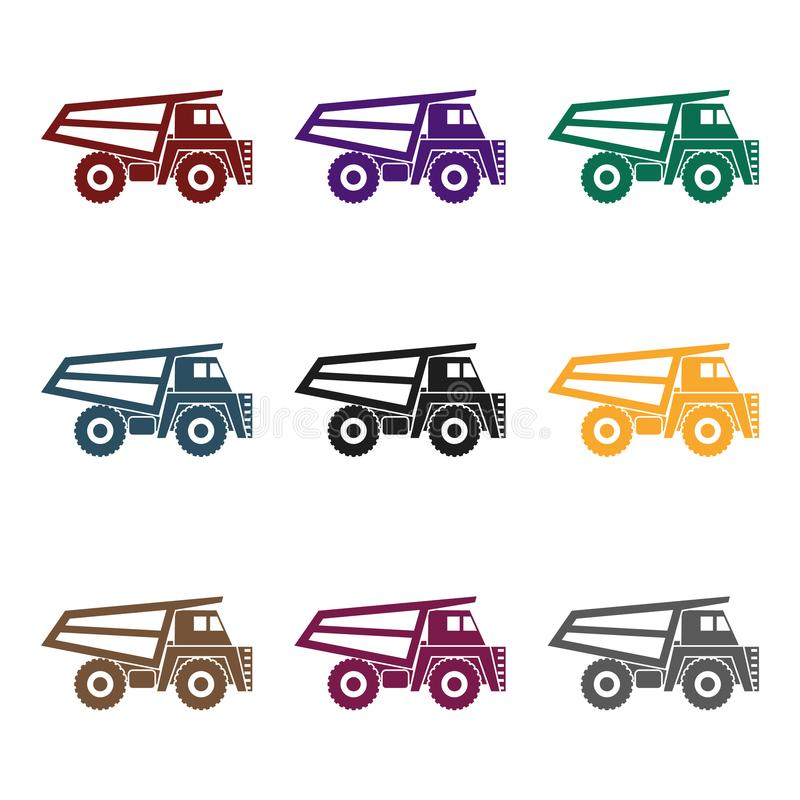 Haul truck icon in black style isolated on white background. Mine symbol stock vector illustration. Haul truck icon in black style isolated on white background royalty free illustration