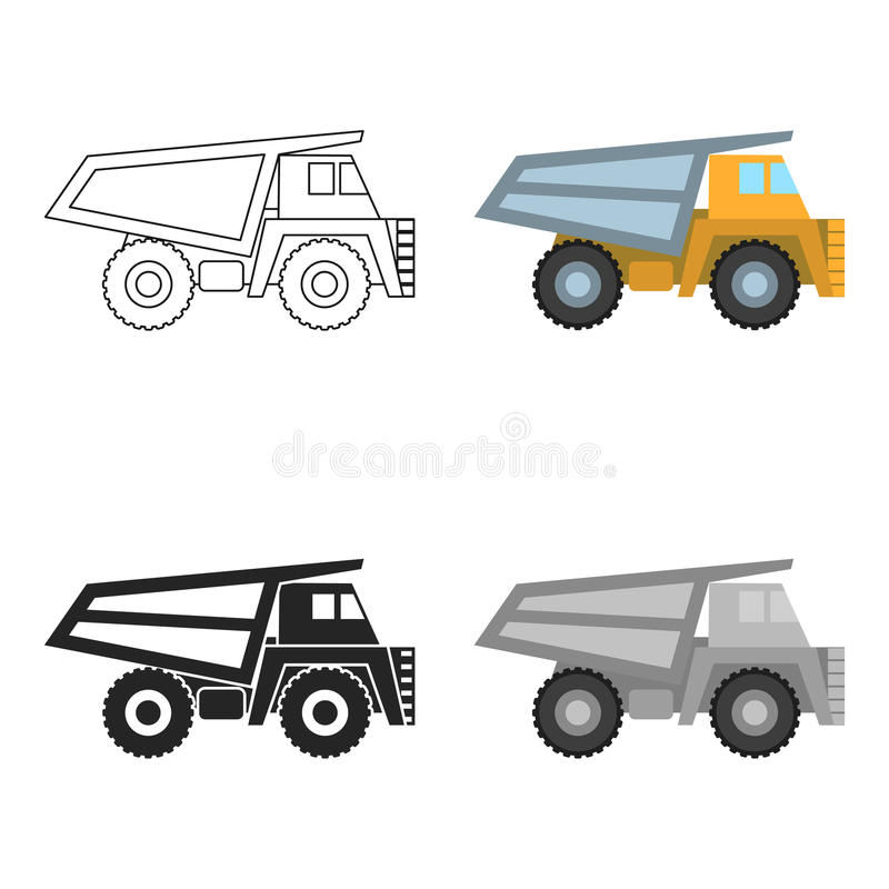Haul truck icon in cartoon style isolated on white background. Mine symbol stock vector illustration. Haul truck icon in cartoon style isolated on white royalty free illustration
