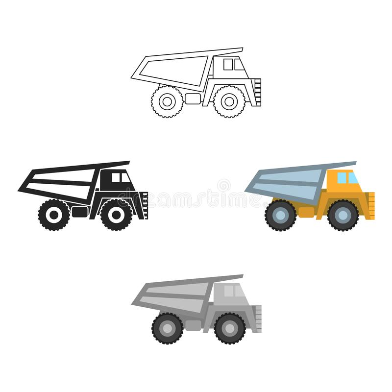 Haul truck icon in cartoon style isolated on white background. Mine symbol stock vector illustration. Haul truck icon in cartoon style isolated on white vector illustration