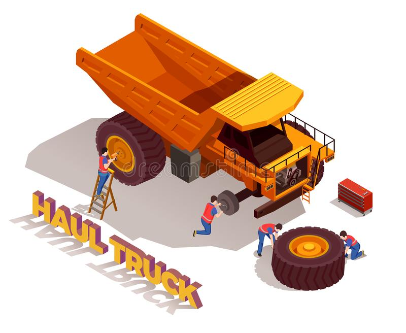 Haul Truck Isometric Composition. Construction workers with tools during repair of haul truck wheels isometric composition on white background vector royalty free illustration