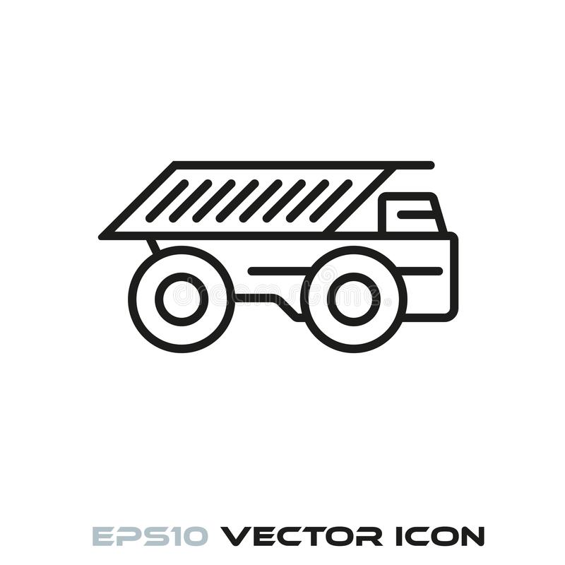 Haul truck line icon. Haul truck flat line icon vector royalty free illustration