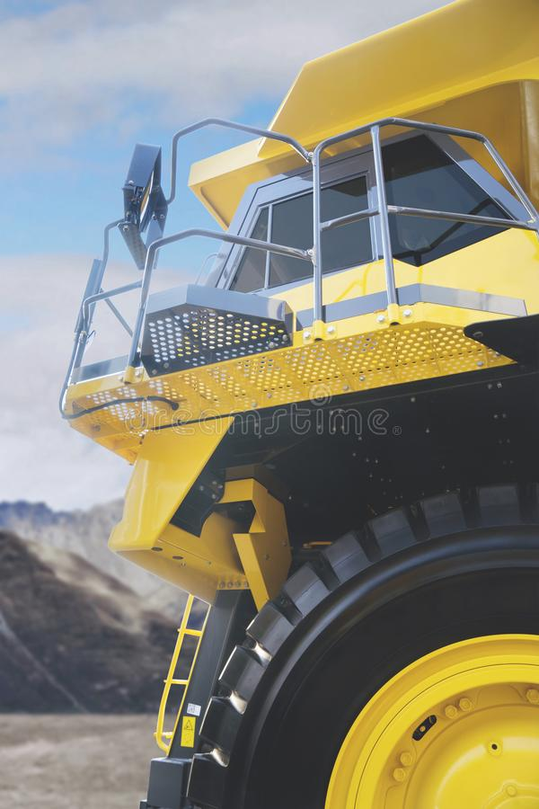 Haul truck parked in the construction site stock images