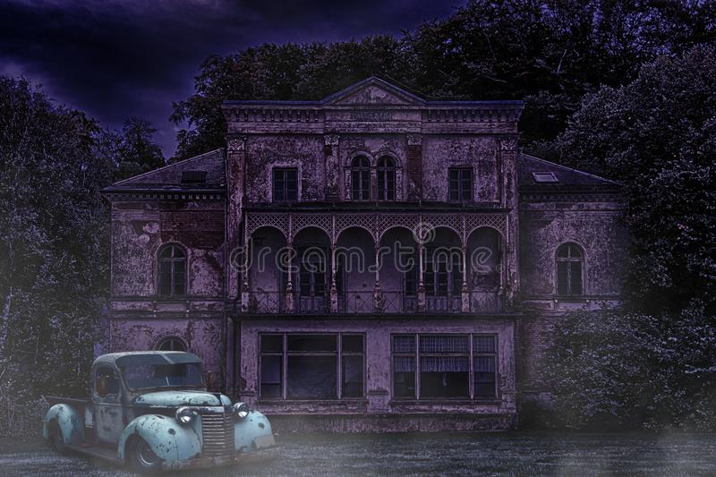 Haunted Abandoned House without Moon and Damaged Car in Front royalty free stock images