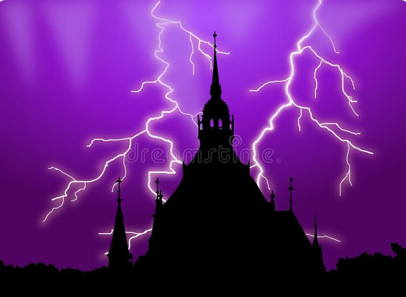 Download Haunted Building Silhouette With Lightening Stock Illustration - Image: 32986198