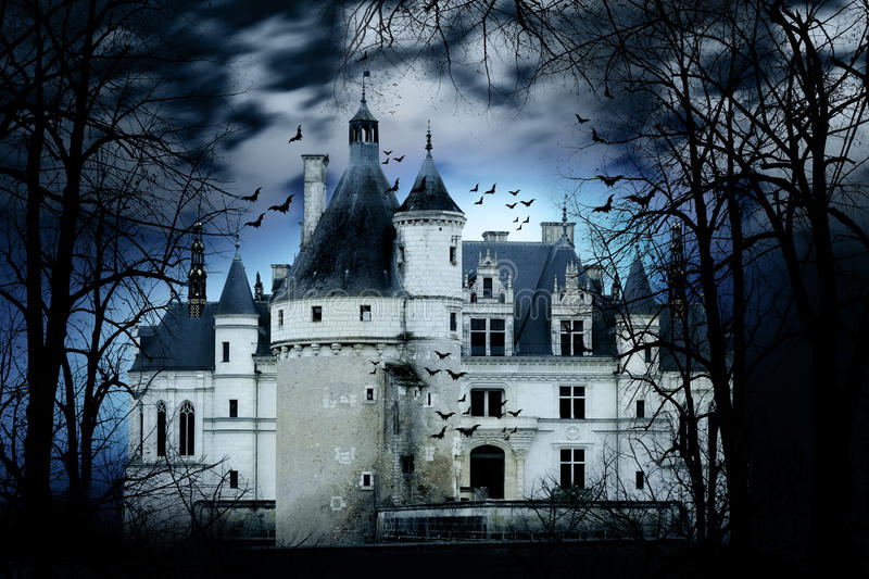 Haunted Castle. With dark scary horror atmosphere around it. Blue dark sky trees silhouettes and bats coming out of the windows stock photography
