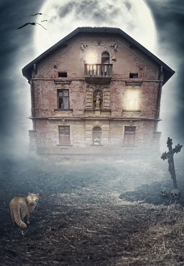 Haunted derelict old house. Halloween design royalty free stock photos