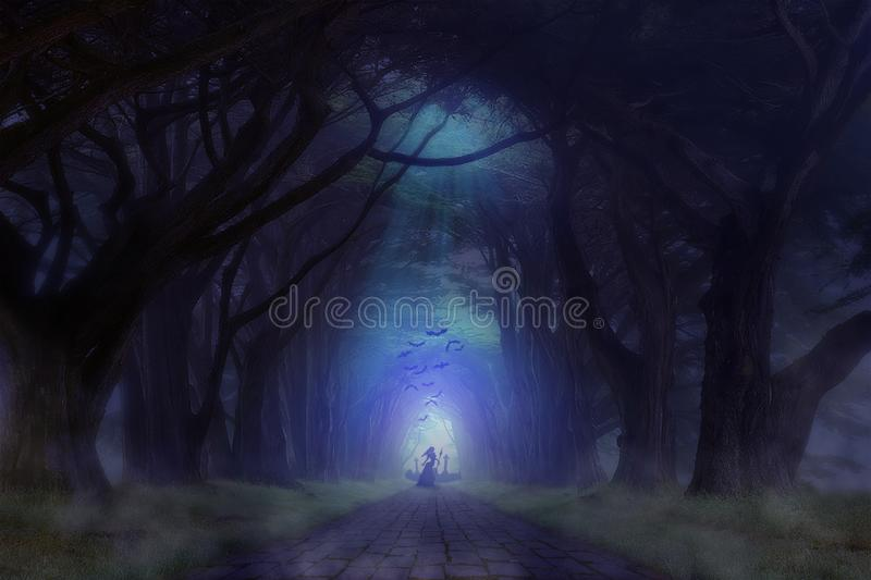 Haunted Forest Cemetery with Ghost Standing in Front of it Holding Weapon in Hand royalty free stock image
