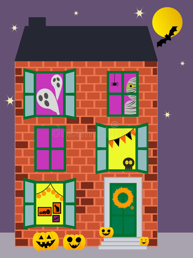 Haunted Halloween apartment stock image