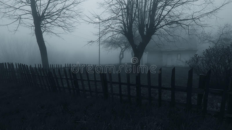 Haunted Horror House in the Mist stock images