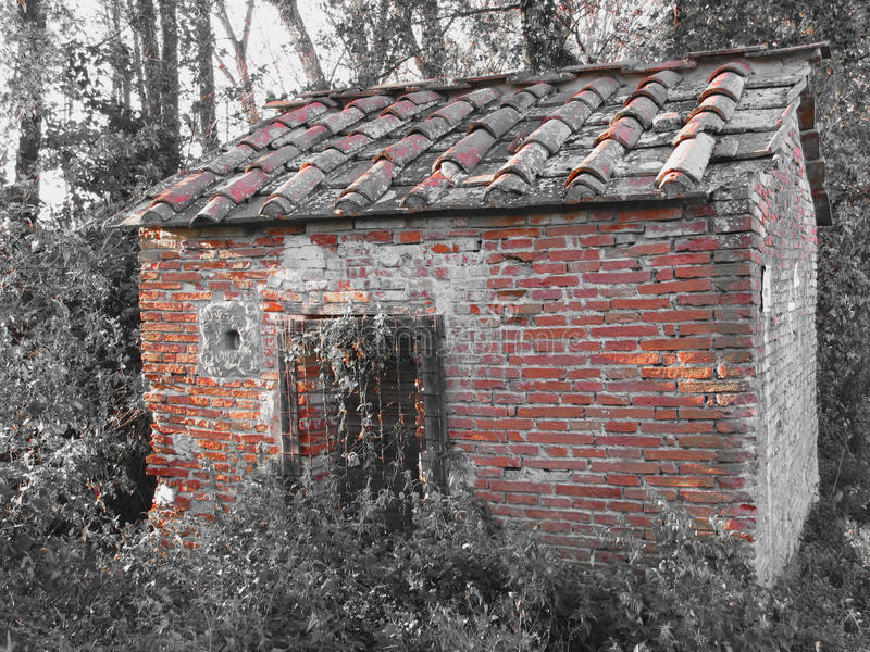 Haunted horror house. Old haunted house in the woods with evil spirits royalty free stock photo