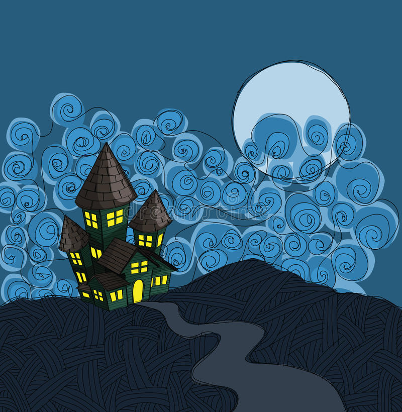 Download Haunted house stock illustration. Image of moon, drawn - 23046660