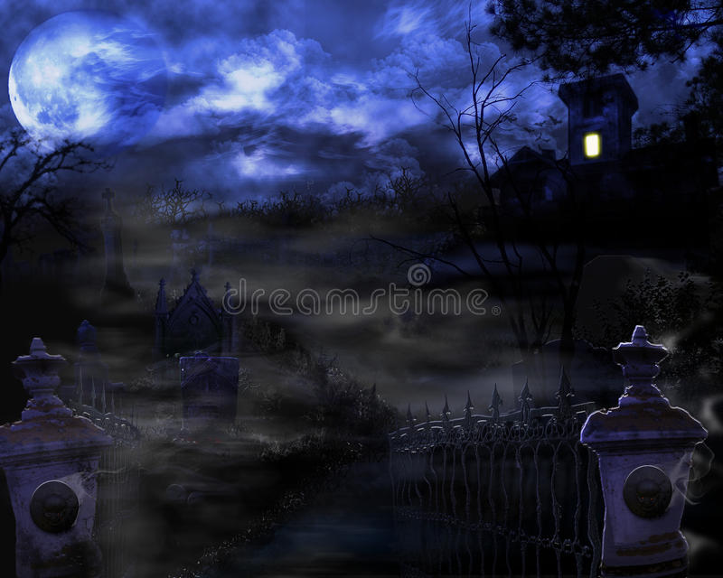 Haunted House. A haunted house sits on a hill beyond a graveyard royalty free illustration