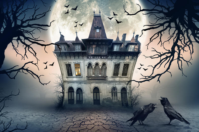 Haunted House with Crows. Haunted House with Dark Horror Atmosphere. Haunted Scene House stock photography