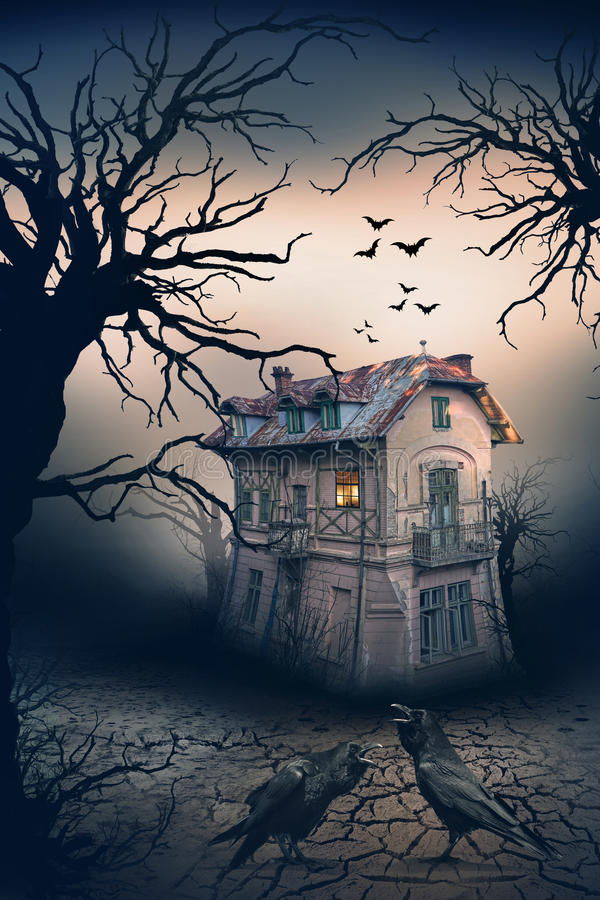 Haunted House with Crows and Horror Scene. Haunted House with Dark Horror Atmosphere. Haunted Scene House stock images