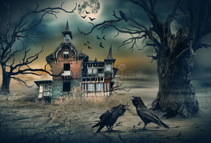 Haunted House with Crows and Horror Scene. stock photo