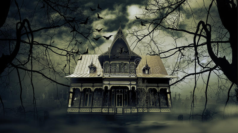 Haunted house. With dark scary horror atmosphere stock photo