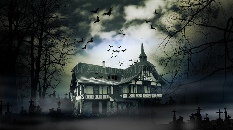 Haunted house. With dark scary horror atmosphere stock images