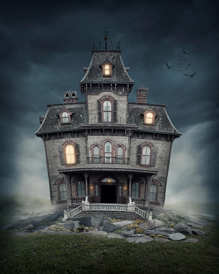 Download Haunted house stock image. Image of night, creepy, bird - 31241197