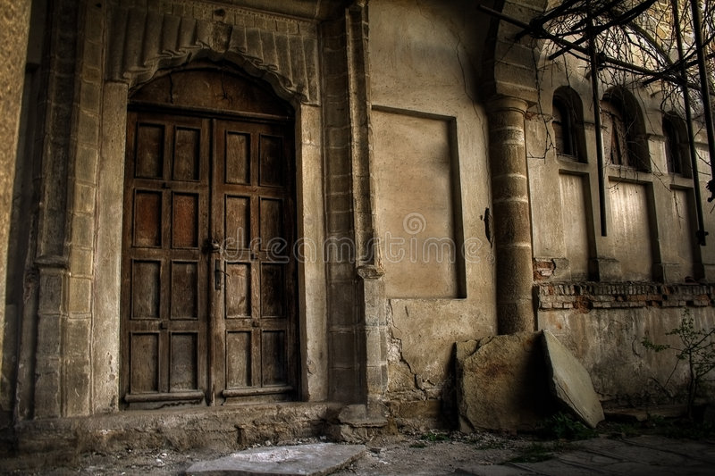 Haunted house - exterior of vintage old building royalty free stock image