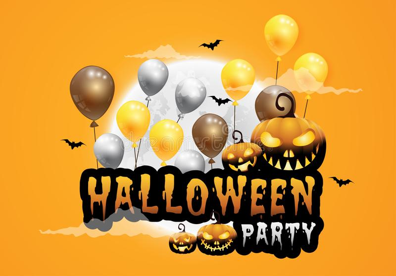 Download Haunted House And Full Moon With Pumpkins And Ghost,party Happy  Halloween Night Background