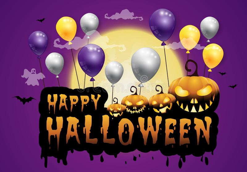 Perfect Download Haunted House And Full Moon With Pumpkins And Ghost,party Happy  Halloween Night Background