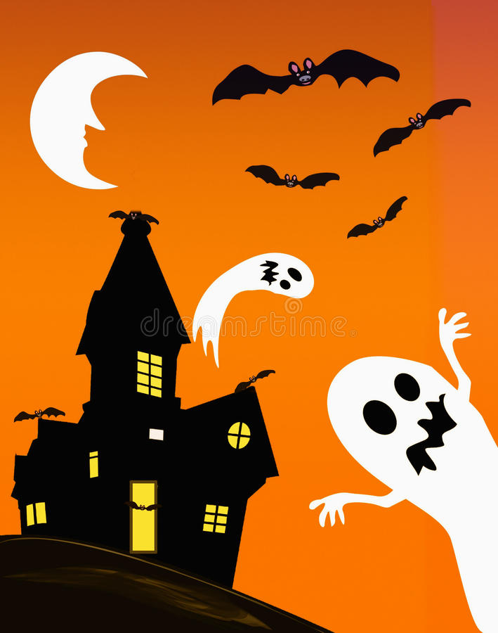 Download Haunted house and ghosts stock illustration. Image of card - 15729663