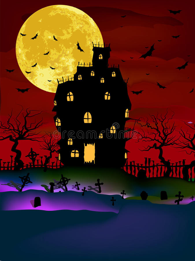 Download Haunted House On A Graveyard Hill. EPS 8 Stock Vector - Illustration: 20974908