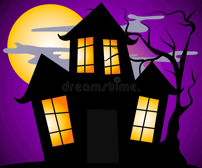 Haunted House Halloween Scene royalty free illustration