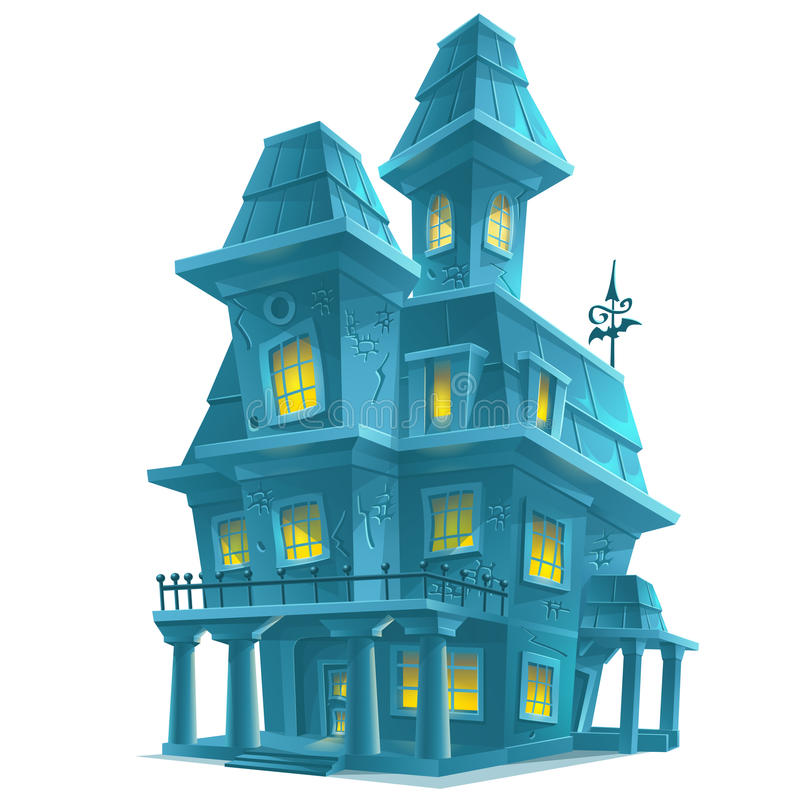 Haunted house in halloween on white background royalty free illustration