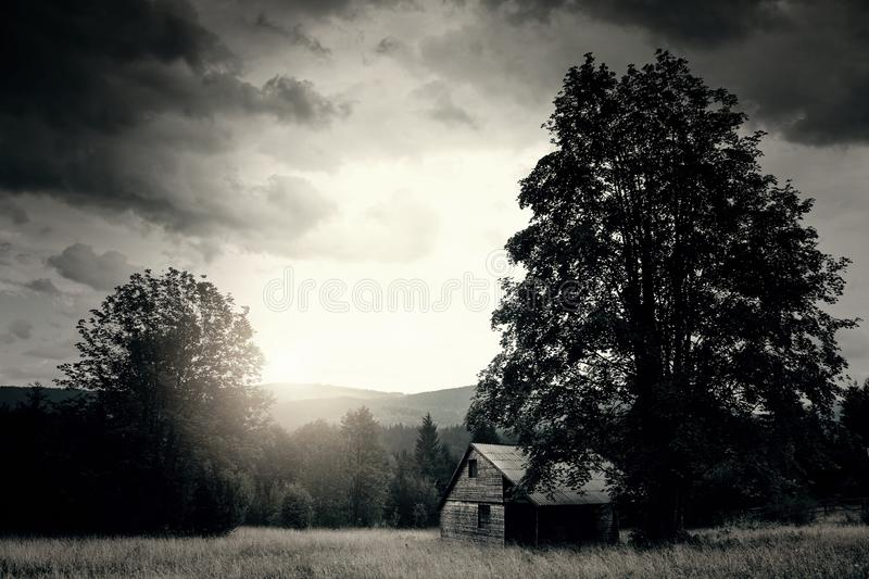 Haunted house. In the field royalty free stock image