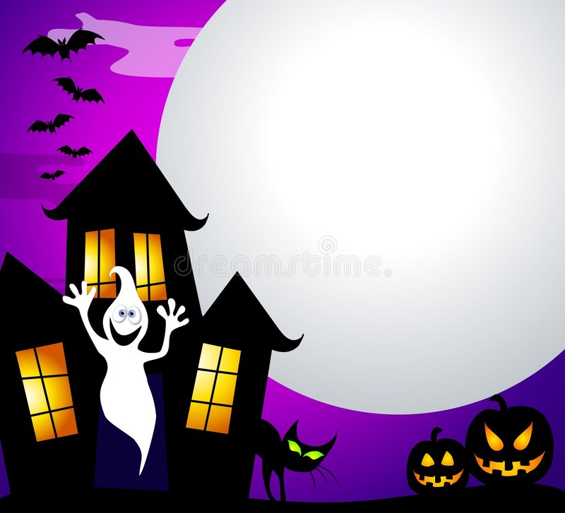 Haunted House and Moon vector illustration